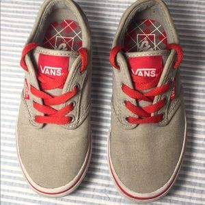 ♥️ Vans 12.5 Kids Tan and Red Skater Sneaker